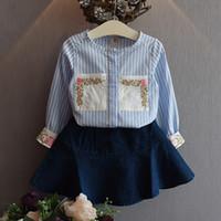 Wholesale Toddler Long Tutu Skirts - 2017kids baby girls clothes sets infant toddler girl floral striped shirt+denim skirt children korean style clothing wholesale