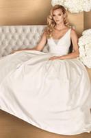 Wholesale Paloma Blanca - 2017 Taffeta A - Line Wedding Dress With the Beading Spaghetti Straps V Neckline Ruched Paloma Blanca Bridal Gown, custom size, free shippin