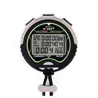 спортивные наручные часы черный оптовых-Спортивный таймер водонепроницаемый таблица 120 хранения памяти на открытом воздухе таймеры Электроника круглый черный плюс белый наручные часы батарея секундомер 90rs J