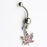 Wholesale Navel Ring Purple - purple color 0390 Nice belly ring nice leaf style belly ring with piercing body jewlery navel belly ring body jewelry