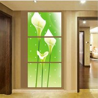 Wholesale Canvas Oil Painting Green Lilies - Wall Art Green background Lily Flower Oil Painting On Canvas Framed Room Panels Modern Decoration art