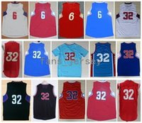 jordan light achat en gros de-Men Basketball Retro Cilppers # 6 JORDAN # 32 GRIFFIN Blanc Rouge Noir Light / Blue Jerseys Short Avec Nom du Joueur