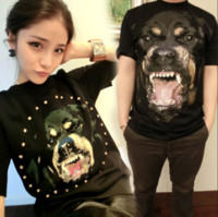 Wholesale Rottweiler Top - summer women men lovers short sleeve 3D Rottweiler print designer casual tshirt GIVE brand clothing fashion tee cotton tops t-shirt male