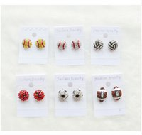 Wholesale Wholesale Cheap Bling - 2017 new good cheap discount Bling Baseball Softball Stud Earrings (Clear Red) freeing shipping fee Rhinestone Crystal Bling Sports Girls
