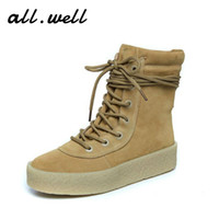 Wholesale Genuine Leather Men Women Flats Short Boots Winter Shoe Khaki Plus Velvet Suede Snow Boots Unisex Casual Kanye West Fur Boot
