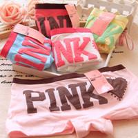 Wholesale Cute Girl Hot Sexy - 2017 Hot Sell Girl Sexy Cotton Stripe Panties Women Underwear Vs Pink Briefs Cute Letter Women