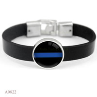 Wholesale Wristband Red For Men - (10 PCS lot) Cabochon Police Black Lives Matter Back The Blue Red Line Leather Bracelets For Men Women Vintage Casual Wristband Jewelry
