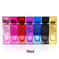 Wholesale Wholesale Glass Bottles Engraved - Wholesale- 1pcs 30ml Empty Glass Spray Bottle for Perfume,Glass Aftershave  Makeup  Perfume Empty Bottle Atomizer with Engraved Flower