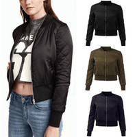 Wholesale Quilted Fleece Jacket - 2016 Fashion Womens Winter Warm V-Neck Quilted Zipper Coat Jacket Padded Bomber Fleece Short Outerwear Tops chaquetas 6 Colors