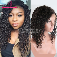 Wholesale Remy Half Wigs - Peruvian Half Hand Tied Human Hair Wigs for African American Women Deep Curly Wave remy Hair Wigs 130% to 150% Density