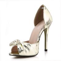 zapatos de boda estilo arco al por mayor-2017 Moda Mujer Sandalias de Tacón Alto Zapatos de Estilo de Verano Peep Toe Bow Slip On Zapatos de Novia de La Boda Sandalias de LA PU de Las Mujeres