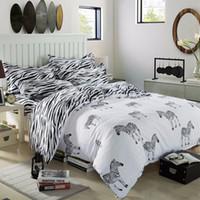 Wholesale zebra queen bedding set for sale - Cartoon Zebra Bedding Set Black White Duvet Cover Bed Set Single Double Queen King Size Kids Bed Sheets Bedlinens