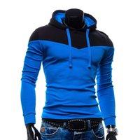 Wholesale Wholesale Long Track Suit - Wholesale- New Arrival Men Hoodies Patchwork Color Napping Men Hooded Sweatshirts Casual Slim Fit Track Suit Men 6 Colors