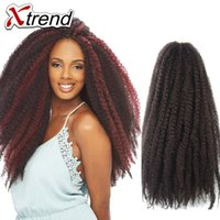 Wholesale Afro Braiding - Xtrend Hot 18'' Afro Kinky Marley Braiding Hair Beauty Multi-color Synthetic Hair Cheap Afro Kinky Twist Crochet Braiding Hair