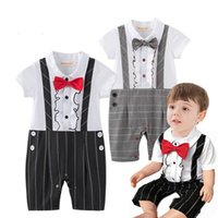 Wholesale Boy Gentlemen Straps - Summer New Baby Boys Rompers Gentlemen Bow Tie Straps Short Sleeve One Piece Jumpsuits Overalls Toddler Clothes 13589