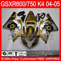 Wholesale Gsxr K4 - 8 Gifts 23 Colors Body For SUZUKI GSX-R600 GSXR750 GSXR600 04 05 9HM44 gloss golnd GSX R600 R750 K4 GSX-R750 GSXR 600 750 2004 2005 Fairing