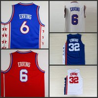 Wholesale Blue Dr - #6 julius erving NEW YORK #32 erving blue white throwback DR. J Soul Swingman Jersey Basketball Jerseys