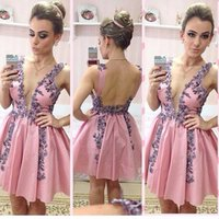Wholesale Sexy Mini Dresses China - Sexy 2017 Pink Deep V Neck Backless Short Prom Dresses Modest Purple Beads Mini Formal Party Gowns Custom Made From China EF7044
