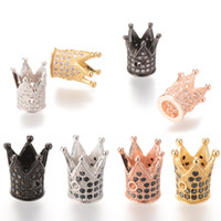 Wholesale Gold Plated Crown Charms - High Quality Crown Micro Pave Spacer Beads No Nickel And Lead 8 Color ICYS009 Size 12.2*10.4mm