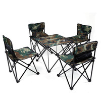 Wholesale Wholesale Foldable Chair - Portable Outdoor Camping Picnic Fishing Folding Foldable Table and Chair 5pcs Set Camouflage Fishing Chair 1 table and 4 chairs 2527018