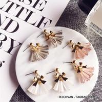 Wholesale Transparent Stud Earrings - Han Guodong door solid metal bowknot glass transparent crystal tassels sweet temperament joker earrings stud earrings
