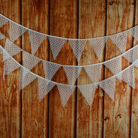 All'ingrosso-12Flags 3.2m White Lace tessuto di cotone Bunting Pennant Flag Banner Garland Wedding / compleanno / Baby Show partito accessorio decorativo