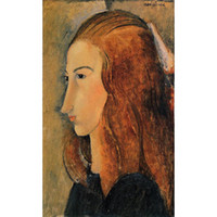 abstrakte gemälde porträts großhandel-Handgemalte Porträtkunstdame Porträt von Gemäldenausgangsdekor Jeanne Hebutern Amedeo Modigliani abstrakten