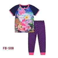 Wholesale Children Boy Sleeping Wear - Wholesale Girl Boys Frozen Pijamas Kids Cartoon Clothing Sets Girls Summer Sleeping Clothes Children Pajamas Night Wear 8-12Y FB-508