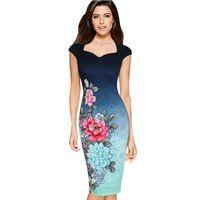 Wholesale pinup floral dress - Womens Elegant Vintage Floral Print Charming Pinup Cap Sleeve Casual Party Evening Vestidos Pencil Sheath Dress