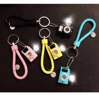 Wholesale Toys Keychain Camera - Vinyl PVC LED Light Digital Camera Sound Toys with Braided Rope Metal Keychain Keyring Car Key Chains Best Gift