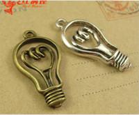 Wholesale Bronze Pendant Lamp - 32*17MM Antique Bronze lamp Bulb charms for bracelet, metal dangle tibetan silver light bulb pendant for necklace, fashion alloy brass charm