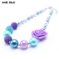 Wholesale Baby Blue Necklace - MHS.SUN Newest Design Blue+Purple Color Flower Kid Chunky Necklace Party Gift Bubblegume Bead Chunky Necklace Jewelry Baby Kid Girl