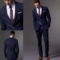 Wholesale Best Suits For Men - Custom Made Dark Navy Blue Men Suit 2017 Fashin Groom Suit Wedding Suits For Men Slim Fit Groom Tuxedos For Best Man