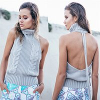 Wholesale Russian Cross Stitch - Twist Hollow Out Hole Backless Bandage Belt Knitted Long Sweater Turtle Neck Sleeveless Casual Solid Hoodies Russian Women Autumn Tops
