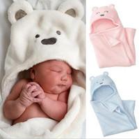 Wholesale Receiving Fleece Blankets - Hot Autumn Winter Newborn Infant Baby Blanket Cute Bear Coral Fleece Blankets Kids Infants Receiving Blanket Swadding