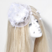 Wholesale White Indian Veil - Free Shipping On Sale White Birdcage Netting Wedding Bridal Fascinator Face Veils Feather Hairpieces Hairpins Fancy Dress Accessories