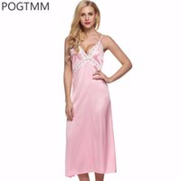 Wholesale Long Satin Nightdresses - Wholesale- Summer Sexy Satin Silk Nightdress Sleep Dress Women Floral Lace Full Slip Long Nightgown Bride Night Gown Nightwear Sleepwear L1
