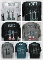 Wholesale Usa Eagles - 2016 New Eagles Elite Mens #11 Carson Wentz jersey Elite Jerseys Green USA Flag Fashion gray Black Stitched Free Drop Shipping