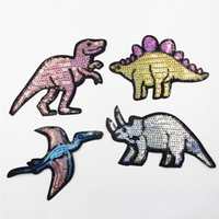 Wholesale Sequin Embroider Fabric - Embroidery Patch,a set of Dinosaur Embroidered patches,with sequins Iron on Embroidered Applique, Fabric Decorations Patch