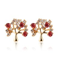 Wholesale Tree Crystal Stud Earrings - Europe and the United States New Fashion Personality Fruit  Money Tree Stud Earrings for Women with Rhinestones Earring Anti-allergy