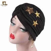Wholesale Sequined Head Bands - 2017 new fashion sequined star ruffle Turban Head Wrap Band Sleep Hat Women India Caps Scarf Hat Ear Cap turbante