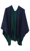 Wholesale Women Beige Coat Cashmere - Wowforu Women Winter Fringe Reversible Cashmere Poncho Capes Shawl Coat