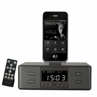 telefon hoparlör yuvası toptan satış-Toptan Satış - FM Radyo ile Çift D9 Akıllı Şarj Dock İstasyonu NFC Bluetooth Stereo Hoparlör Çift Çalar Saat Telefon için Uzaktan Kumanda LCD Ekran