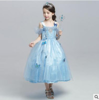 Wholesale Evening Dress Cinderella Style - Princess Halloween Party Evening Costume Cinderella Children Cosplay Dress Party Girl Princess Off Shoulder Satin Dresses Kids Girls Dresses