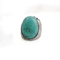 ingrosso grandi gemme-Anello vintage turchese blu natura ovale pietra grande anello in argento per le donne regalo gioiello gioiello di Boemia