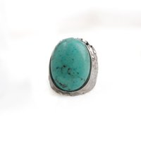 Vintage Blue Turquoise Ring Oval Natureza Pedra Big Silver Ring For Women Bohemia Gem Jewelry Party Gift