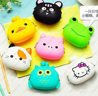 Wholesale Jelly Purses Free Shipping - New Fashion Lovely Kawaii Candy Color Cartoon Animal Women Girls Wallet Multicolor Jelly Silicone Coin Bag Purse Kid Gift Free shipping