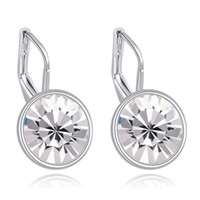 Wholesale Dangling Clear Rhinestone Earrings - Bella mini pierced earrings made with original Swarovski elements white filled clear crystal best gift for women for Valentine's gift