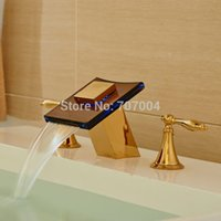 Wholesale Bathroom Waterfall Wall Spout - Wholesale- Golden Dual Handles Waterfall Glass Spout LED Colors Basin Sink Faucet Deck Mount 3pcs Bathroom Mixer Tap