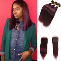 Wholesale Red Weave Extensions - Burgundy Wine Red 99J Brazilian Virgin Hair Weave Bundles with closure Peruvian Malaysian Straight Baby Human Hair Extension
